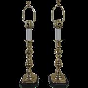 Brass Candlesticks, Lamps, English, 19th Century