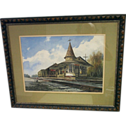 """Painting, Watercolor, """"New Hope Train Station"""""""