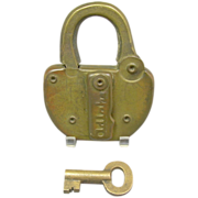 SOLD Vintage Adlake USY of O Brass Railroad  Padlock with Key