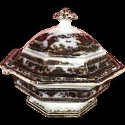 SALE Antique Mulberry Transferware Tureen Temple Pattern