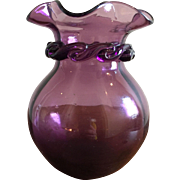 Vintage Blenko Amethyst Art Glass Vase with Ribbon Twist Ruffled Rim