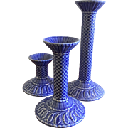 SALE Vintage Bordallo Pinheiro Signed Basketweave Blue Candlesticks