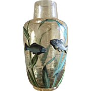 Rare Moser Crackled Art Glass Applied Fish Hand Painted Vase