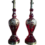 SALE Antique Pair Tall Ruby Glass Hand painted Regency Lamps 1900's