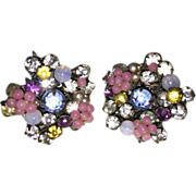 SALE Miriam Haskell Multi Color Rhinestone Glass Bead Floral Earrings