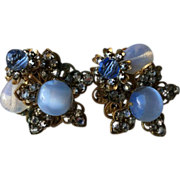 SALE Haskell Horseshoe Signed Blue Moonstone, Cabochon, Rose Montee Flower Clip Earrings
