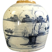 SALE Late Ming Dynasty Blue White Ginger Jar
