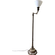 Signed Mutual Sunset Lamp Mfg. Neoclassical Floor Lamp Brass Marble Base