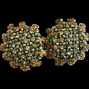 Signed Miriam Haskell Turquoise Art Beaded Rhinestone Cluster Earrings