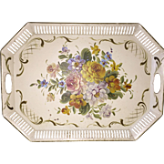 Vintage Chippendale Toleware Tray Reticulated Ivory Floral French Scrollwork