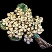 Sandor Vintage 1940's Enamel Floral Bouquet Brooch