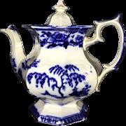 Rare Flow Blue Staffordshire Teapot Hindustan C1845
