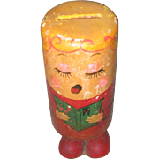 Vintage wooden PUSH UP Toy--Happy Birthday Angel--