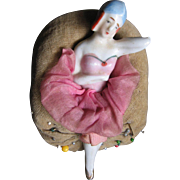 Vintage Pin Cushion with reclining Girl.