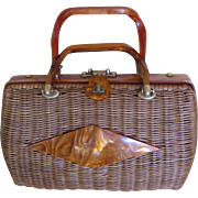 Lucite and Wicker Purse - 1960s