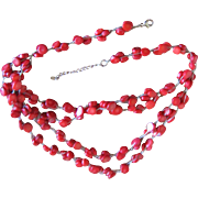 Estate Coral and Sterling Necklace