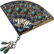 Art Deco Cloisonné Enamel Gilt Butterfly Fan Brooch with Turquoise, Book Piece