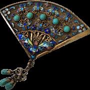 Art Deco Cloisonné Enamel Butterfly Fan Brooch with Turquoise, Book Piece