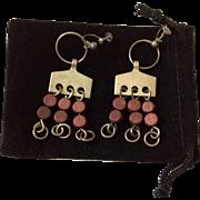 Anna Greta Eker Modernist Sterling and Wood Dangle Earrings, c. 1960