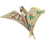 RARE Chato Castillo Modernist Sterling Silver Bird Pin with Turquoise and Pearls
