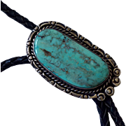 Vintage Navajo Turquoise and Silver Bolo Tie
