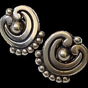 Los Castillo Taxco Vintage Beaded Scroll Sterling Silver Earrings