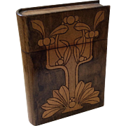 Art Nouveau Style Carved Book-Shaped Wood Box