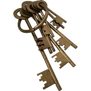 SOLD Enormous Brass Keyring with 8 Keys