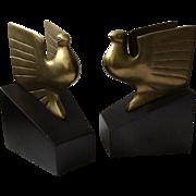 Art Deco Brass Bald Eagle Bookends
