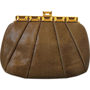 Judith Leiber Couture Snakeskin Bag with Tiger's Eye Stones