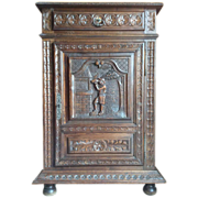 SALE French Oak Carved Cabinet with Drawer, Keyed Door and 2 interior shelves