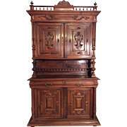 SALE French walnut carved hutch Henri II style