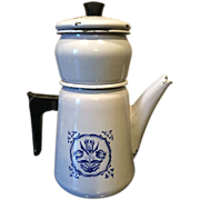 French enamelware coffee pot grey-blue with dark blue flower design