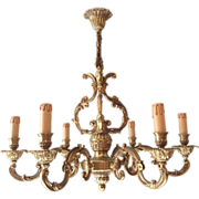SALE French bronze chandelier with 6 arms in Louis XV style