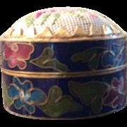 Cloisonné Pill box with petit-point top