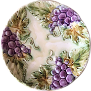 French Majolica Grapes Decorative Plate