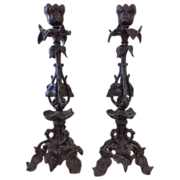 SALE French Solid Bronze Candlesticks