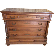 SALE French Walnut Dresser Henri II style with red marble
