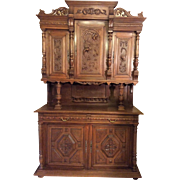 SALE French Henri II Style Hutch with intricate carvings