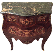 REDUCED French Bombe Commode with Marquetry and Green Marble Top in Louis XV Style