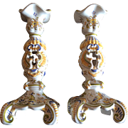 Pair of French Moustiers Candle holders