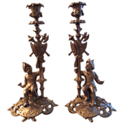 Pair of French candlesticks made of spelter