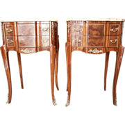 REDUCED French Marquetry Side Tables with Marble Tops