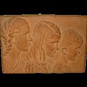 SALE 1942 Margaret *Joy* Buba *3 CHILDREN* plaster plaque & YOUNG GIRL Statue - Important ...