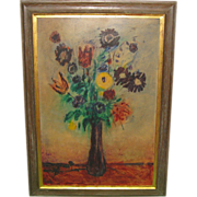 SALE Vintage DONALD PURDY Modernist FLOWERS in Vase Still life Large PAINTING -Listed