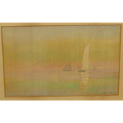SALE Antique GEORGE MORRIS (1853-1916) 'Sailing Boats at Sunset' BOSTON School Painting - ...