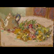 SALE ALEXIS PAUL ARAPOFF (1904-1948) 'Flowers w Teapot Annisquam 1931' Painting -Russia ...