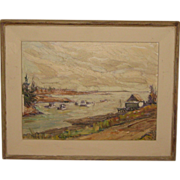 SALE Vintage RICHARD SIGAFOOS (1908-1985) 'Sheltered Harbor' Marine Oil Painting - Listed ...
