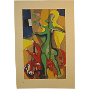 Vintage 1971 WILLIAM ASHBY McCLOY (1913-2001) 'The Last Act' Silkscreen & pastel PICASSO Schoo