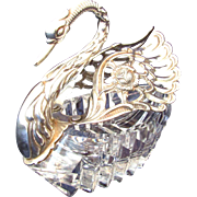 Vintage Sterling Silver and Glass Master Salt, Swan Shaped